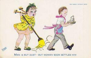 Girl sweeps at boy wearing pink apron carrying dishes, Man is but dust-But wo...