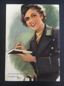 Mint WW2 Postcard Germany Army Women at War Series Working with Clipboard