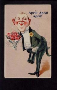 074617 1st APRIL Fool's Day DANDY w/ TOP HAT as GROOM vintage