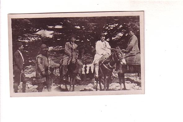 Real Photo, People Sitting on Donkeys, French Back, Size 4.5 X 2.5 Inches