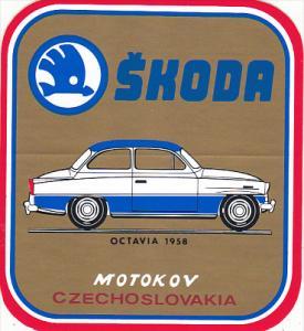 OCTAVIA 1958 SKODA AUTO MANUFACTURING LABEL CZECHOSLOVAKIA
