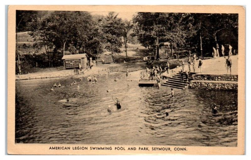 American Legion Swimming Pool and Park, Seymour, CT Postcard