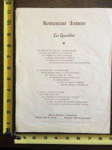 1940 Antoine's Centennial Menu French New Orleans