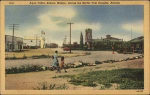Agua Prieta Sonora Mexico - Douglas AZ - Postcard
