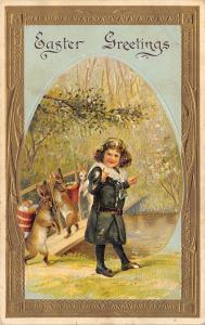 Easter~Girl By Creek~3 Upright Rabbits on Bridge~Egg Back Baskets~Gold Border