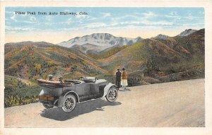 Car on Pike's Peak Auto Highway Colorado 1920c postcard