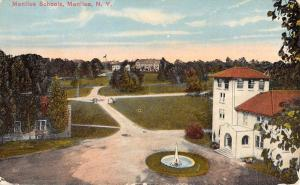 Manlius New York Schools Birdseye View Historic Bldg Antique Postcard K19600