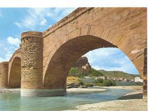 Postal 048456 : Graus (Huesca). Puente Romanico y rio Esera al fondo Virgen d...