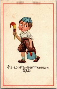 Boy With Paint Can, Brush I'm Goin To Paint The Town Red c1912 Vtg Postcard A33