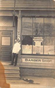 Norwood MA Frank's Barber Shop Barber Pole in 1912 RPPC