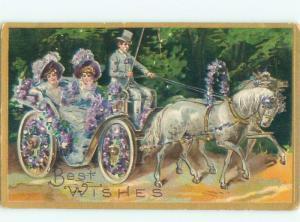 Pre-Linen PRETTY WOMEN IN HORSE-DRAWN CARRIAGE AC4238
