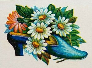 Victorian Trade Card Blue Shoe with Daisies in Shoe