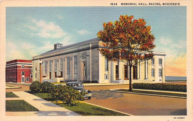 Memorial Hall, Racine, Wisconsin, early postcard
