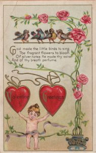 VALENTINE GREETINGS, PU-1912; Cupid holding hearts, Roses & Birds