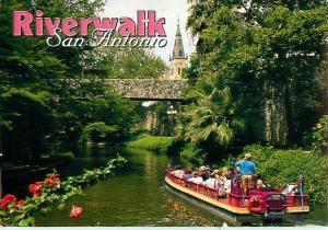 Riverwalk San Antonio Canal Tour Boats Stores Bridge Shops Foo  Postcard  # 7619