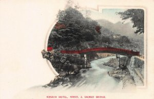 Kanaya Hotel, Nikko & Sacred Bridge, Japan, Early Hand Colored Postcard, Unused