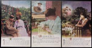 WW1 I'LL DREAM OF YOU Bamforth Song Cards set of 3 No 4964/1/2/3