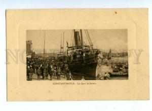 173577 TURKEY Constantinople Galata quay Vintage embossed PC
