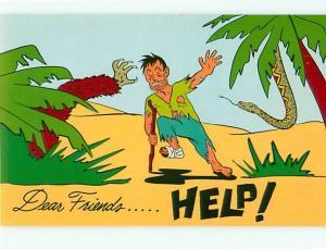 Dear Friends Help Gorilla Snake Stranded on Island Crutch   Postcard # 6189