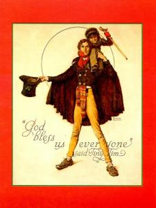 Norman Rockwell (Repro) - Christmas: Tiny Tim & Bob Cratchit  (Size: 6.625 X...