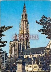 Modern Postcard Antwerpen Groenplaats