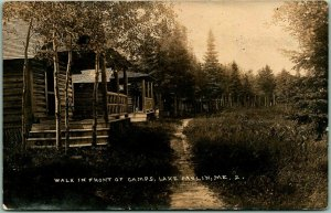 1925 LAKE PARLIN Maine RPPC Real Photo Postcard Walk in Front of Camps Cabins