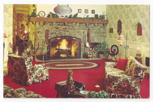 Pocono Manor Inn PA Lobby Interior Fireplace Vintg Postcard