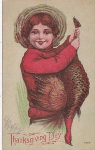 Thanksgiving Young Boy Holding Turkey