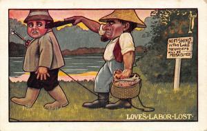 C Ryan~Comic Pun~Love's Labor Lost~Fisherman Poacher Loses Fish~No Trespassing