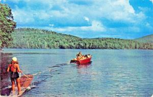 FT GIBSON LAKE OKLAHOMA-AQUAPLANING BEHIND SPEED BOAT POSTCARD 1960