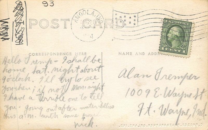 Crooked Lake Indiana~Richardson Dance Hall~Ladies & Gents on Balcony~1914 RPPC