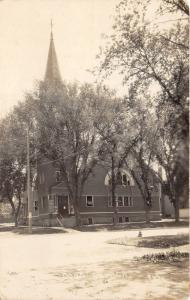 Le Mars Iowa~Congregational Church~Tall Steeple~Sign in Front~c1910 RPPC