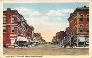 Anniston AL Street View Store Fronts Trolley Tracks Postcard