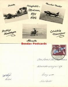 dutch new guinea, BIAK, Mokmer Airport, Dakota, Allouette (1961) RPPC Stamp