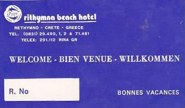 GREECE CRETE RETHYMNA BEACH HOTEL VINTAGE LUGGAGE LABEL
