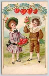 Victorian Valentine~Children Pluck Hearts From Vine~Fill Basket~Art Nouveau Emb