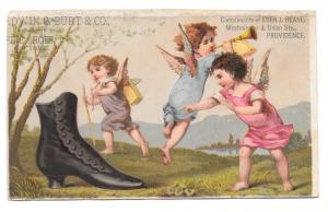 Cherub Boot Victorian Trade Card Eben J Beane Providence RI Edwin Burt NY Shoes