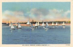 Newport Rhode Island~Newport Harbor Sailboats~Battleship~1935 Linen Postcard