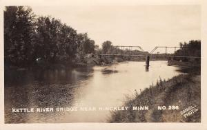 Hinckley MN Two-Span Open Truss Bridge Over the Kettle River RPPC 1920s Postcard