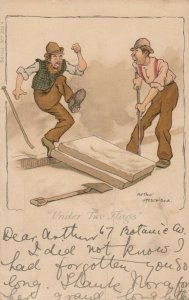 AS; MORELAND, PU-1907; Under Two Flags Worker stumping toe with pallet