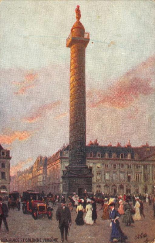 Vintage Tucks 1910 Art Postcard PARIS PLACE ET COLONNE VENDOME France No. 125-94