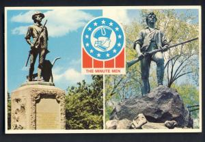 Concord/Lexington, Mass/MA Postcard, Minuteman Statues