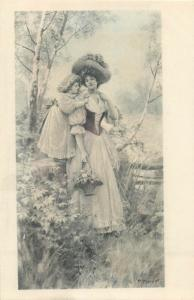 P. Tarrant signed fancy glamour lady & girl fantasy eraly postcard