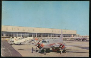 American Airlines DC-3 at. Newark NJ  airport  Postcard 1965