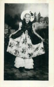 Elegant lovely girl retro fashion dress hat real photo postcard