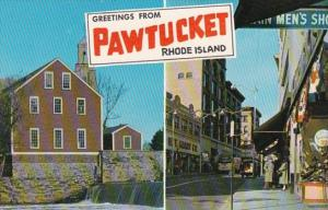 Rhode Island Greetings From Pawtuckett Showing Main Street and Old Slater Mill