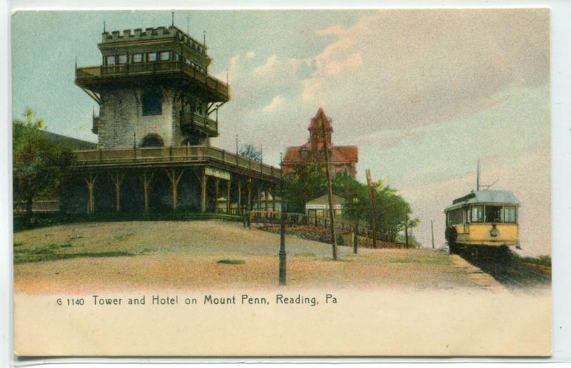 Mount Penn Tower Hotel Streetcar Reading Pennsylvania 1907c postcard