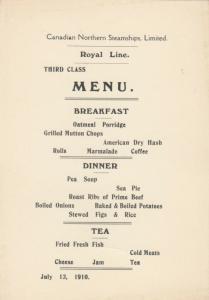 Royal Line Ocean Liner T.T.S.S. ROYAL GEORGE 1910 ; BREAKFAST Menu, 3rd Class
