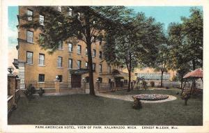 Kalamazoo Michigan Park American Hotel Antique Postcard J54183