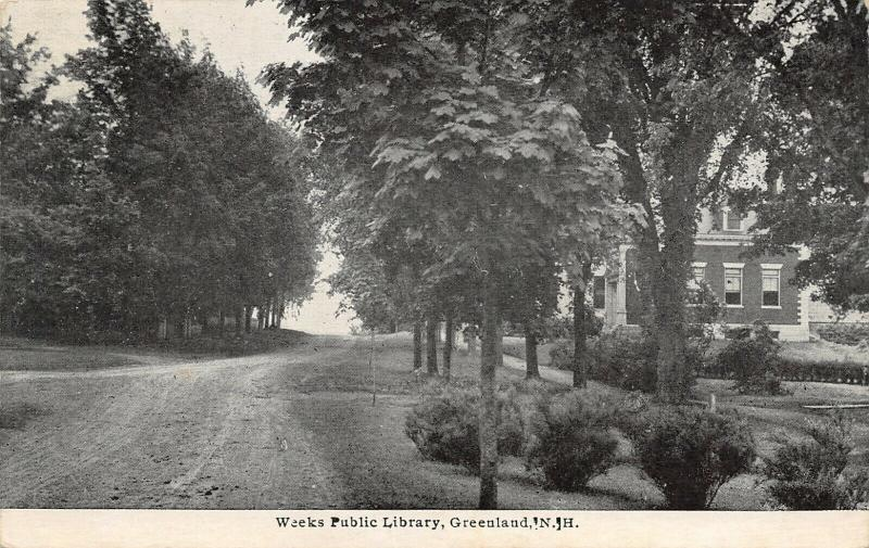 Greenland New Hampshire~Dirt Road Uphill Past Weeks Public Library~c1920s B&W PC